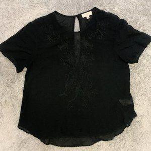 Aritzia Wilfred 100% Silk Tee Blouse - Black
